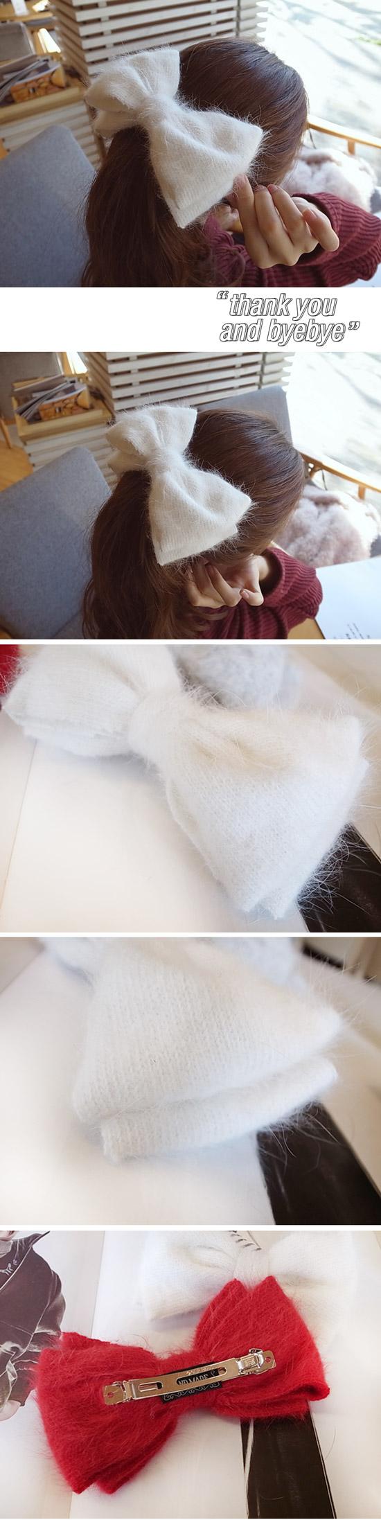 韓國 NaniWorld 毛線風蝴蝶結髮夾 #3821 白色