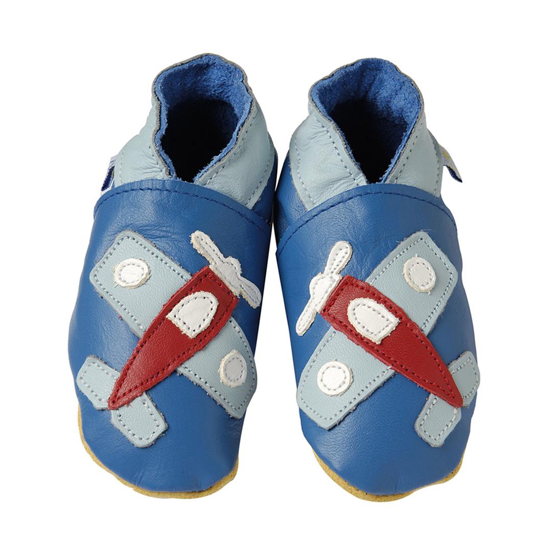 Daisy Roots 彌月禮盒 英國手工鞋+方巾 - 飛機/藍色方巾