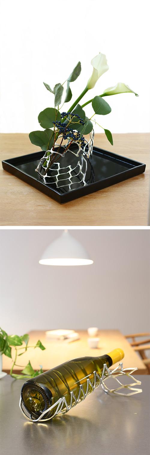 日本能作 純錫蜜巢魔術置物籃