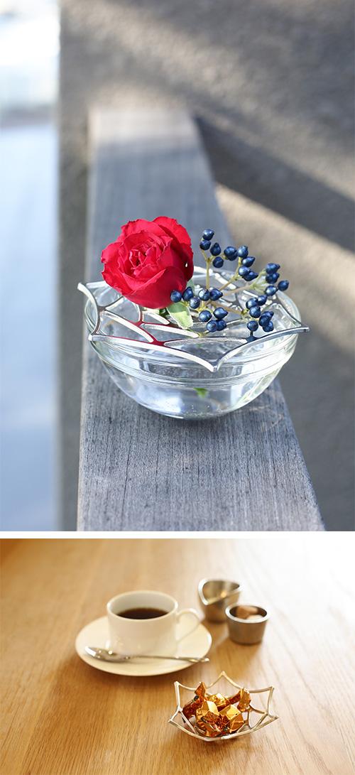 日本能作 純錫魔術置物籃 - 玫瑰 S