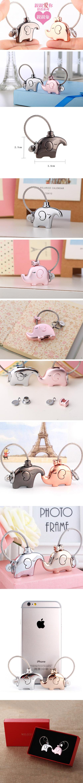 創意小物館 情人小象象鑰匙圈 粉金色+銀色