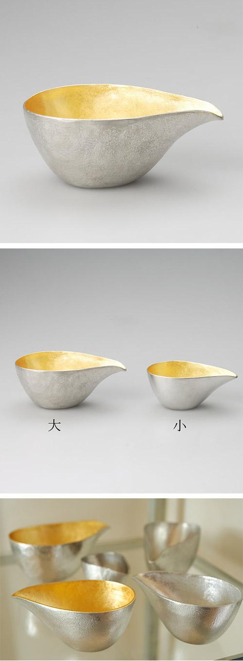 日本能作 純錫金箔片口盅 L