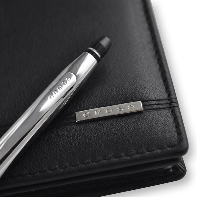 【可雷雕】CROSS 立卡系列 亮鉻原子筆+經典世紀信用卡夾(黑)禮盒