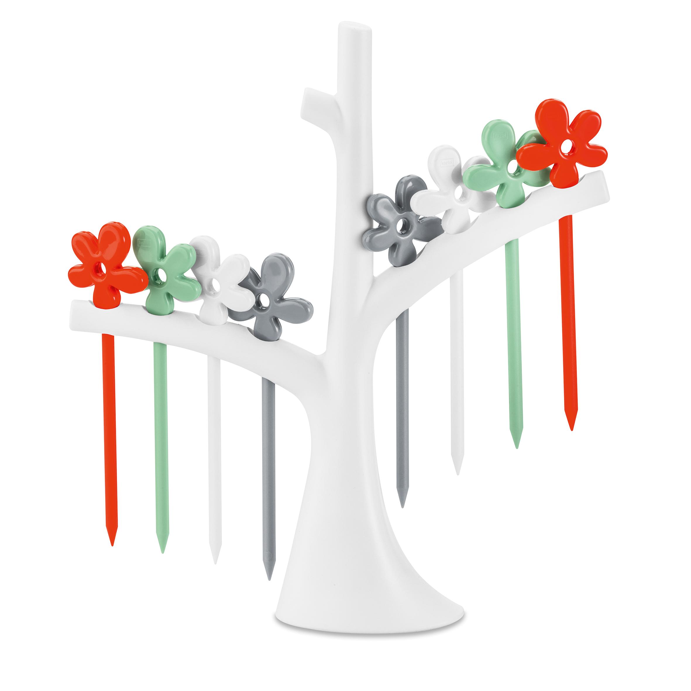 節慶派對佈置館 KOZIOL 樹梢櫻花短叉 (8入) 白橘灰綠