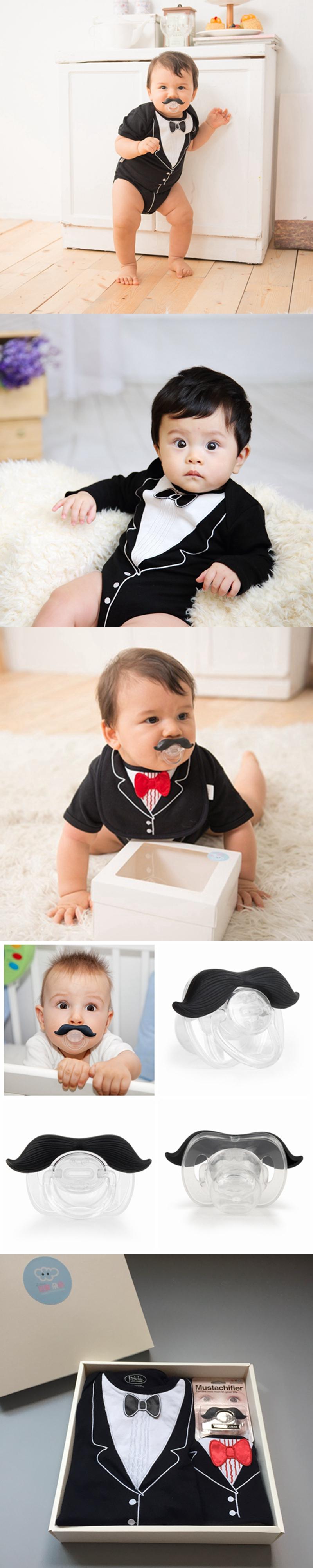 美國FMC X Hipsterkid 男嬰禮盒 - 李傲納多宴會版 (連身衣+圍兜+奶嘴) (6個月)