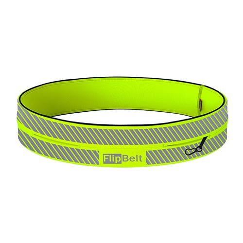 FlipBelt 飛力跑運動收納腰帶 反光款 螢光黃 (XS)