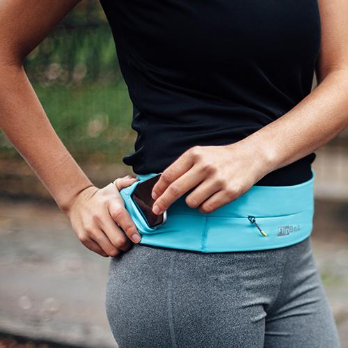 FlipBelt 飛力跑運動收納腰帶 拉鍊款 水藍 (M)