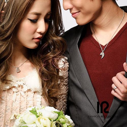 【可刻字】IR 相愛的心 組合式情侶項鍊(男款(黑)+女款(玫瑰金))