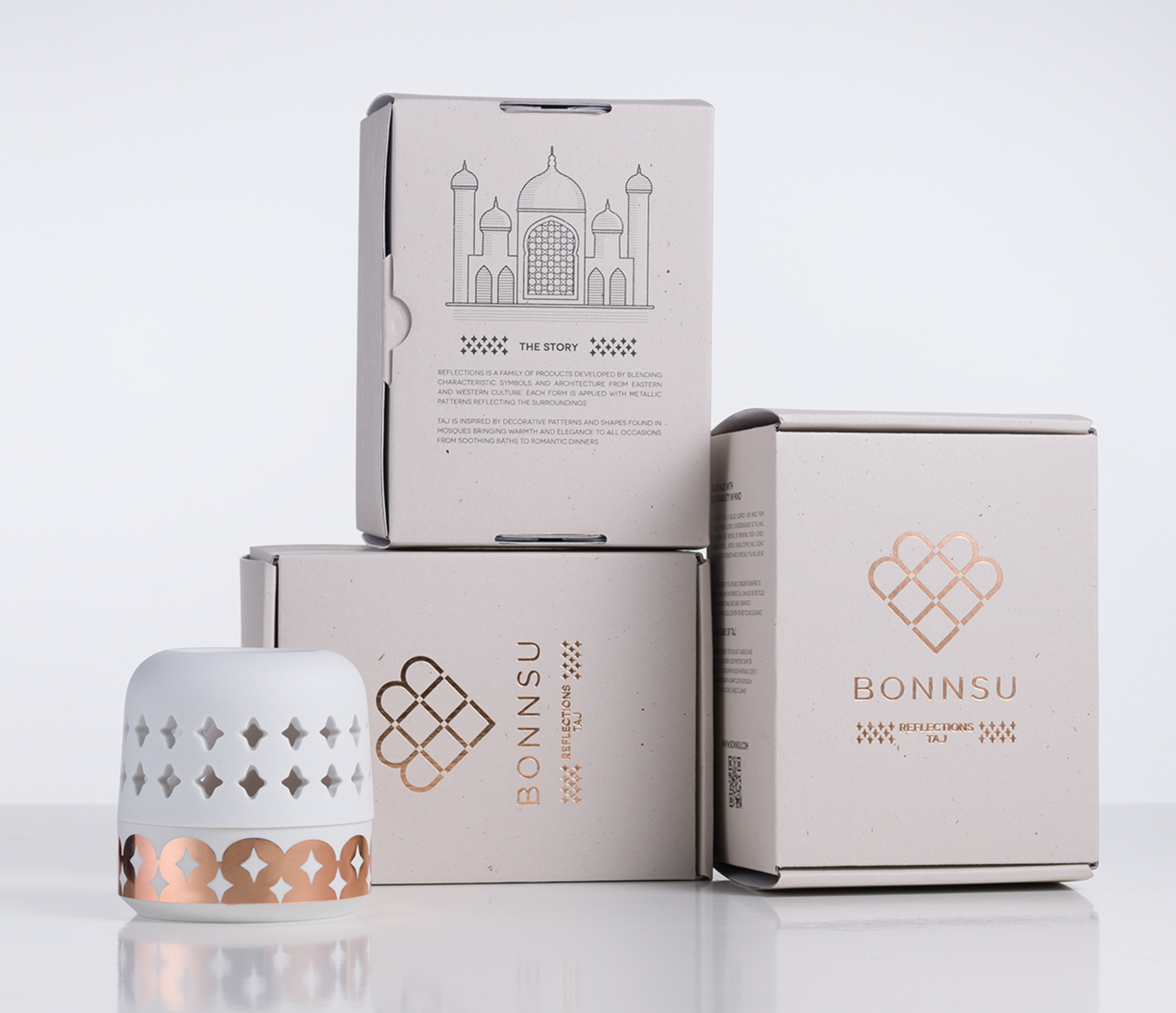美國 BONNSU|經典居家系列 倒映骨瓷燭台(單一款式)