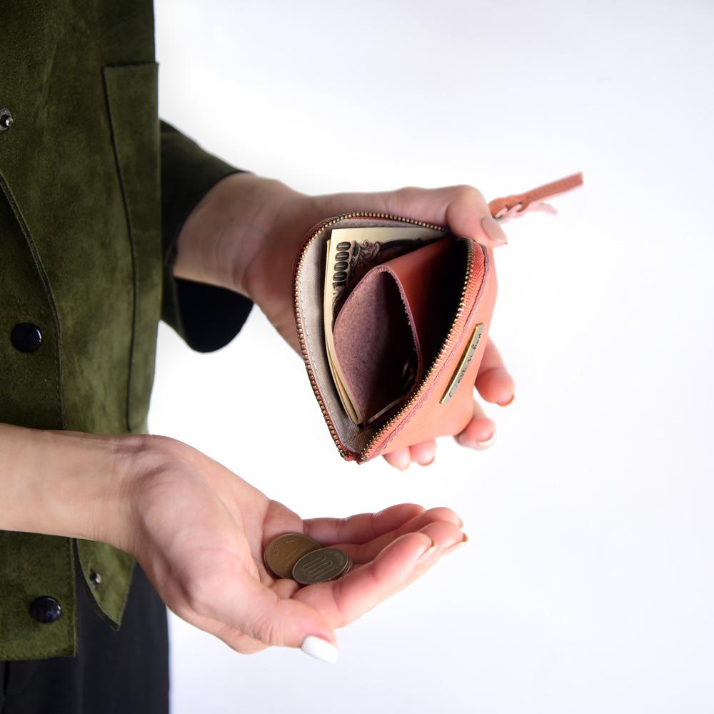 C'est Si Bon 進口真皮L型拉鍊零錢包/鈔票短夾(啡紅色)