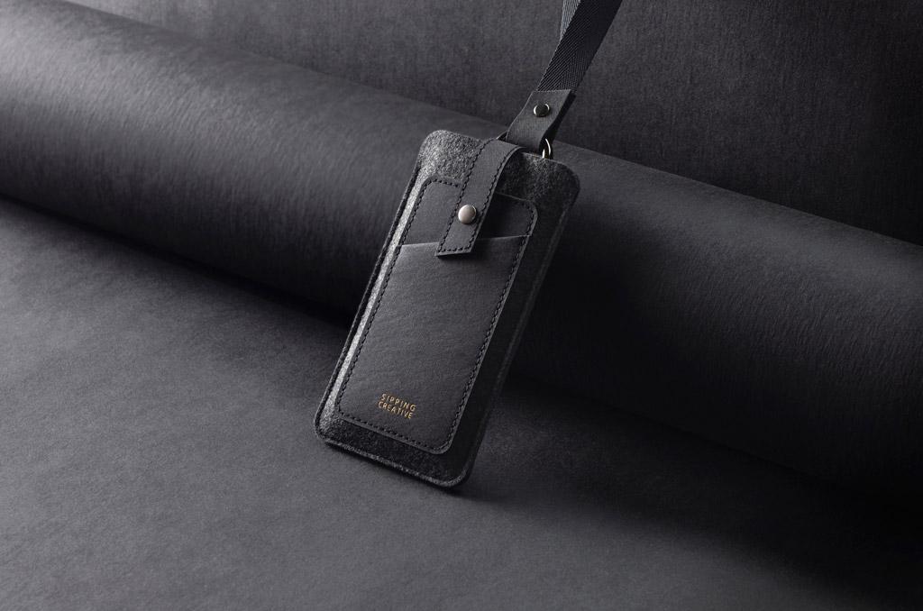 俬品創意 頸掛手機套 極簡黑