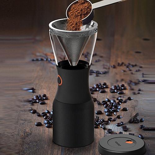 ① 將磨碎的咖啡粉倒入不銹鋼過濾器中