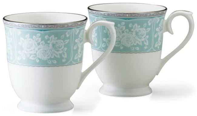 日本 NARUMI 世紀約定 馬克對杯組 藍底