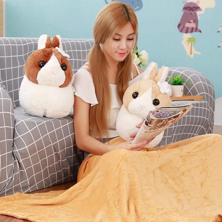 163彩票登录 可愛毛茸兔兩用空調毯抱枕娃娃 淺棕色