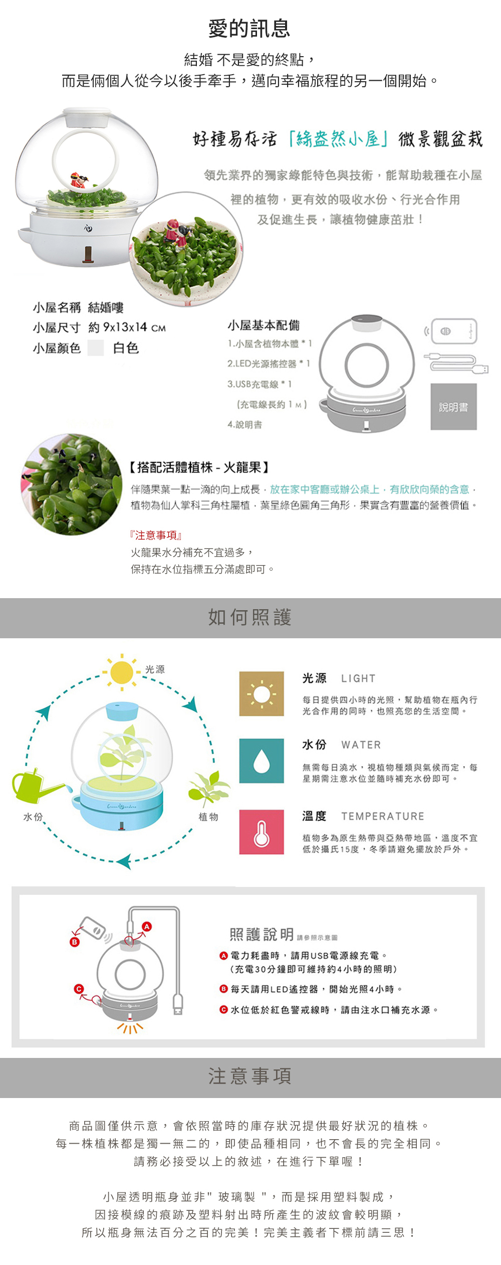GreenPandora 結婚囉 療癒盆栽(白色)