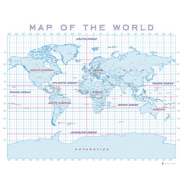 世界地圖即地球表面的地圖,一般畫有經緯線、地名等資料, 使用者可以藉經緯線在世界地圖上找出各地方, 同時也是國家版圖最常用和最主要的表示形式!