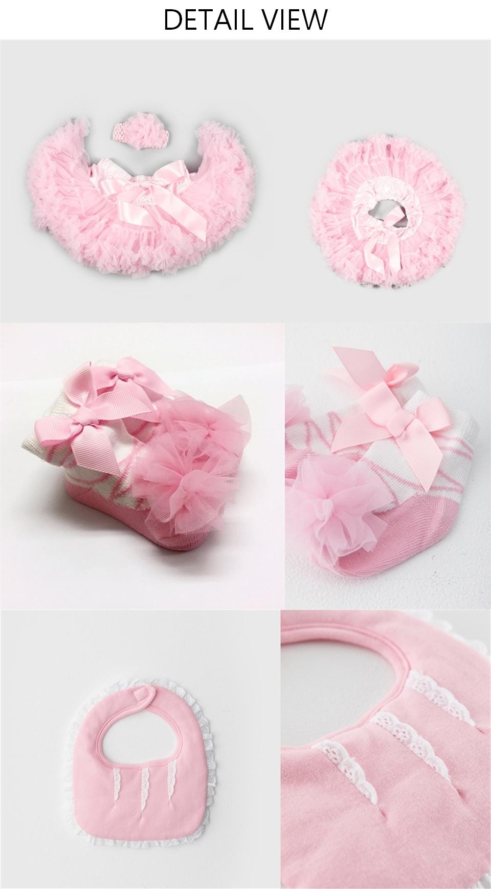 日安朵朵 女嬰童蓬蓬裙禮盒 - 粉嫩小公主睡美人 (裙+圍兜+寶寶襪) 睡美人