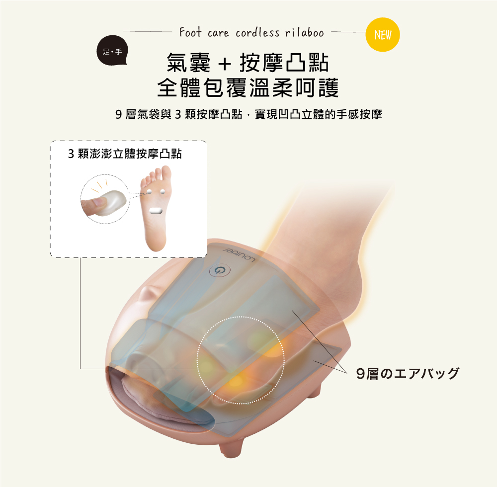日本 LOURDES 小豬造型手足兩用按摩器-粉色