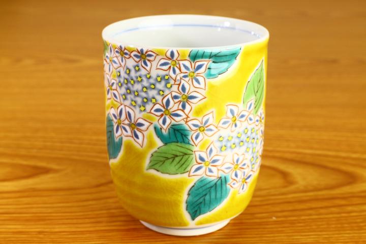 日本 九谷燒花彩對杯組 (紫陽花&山茶花)