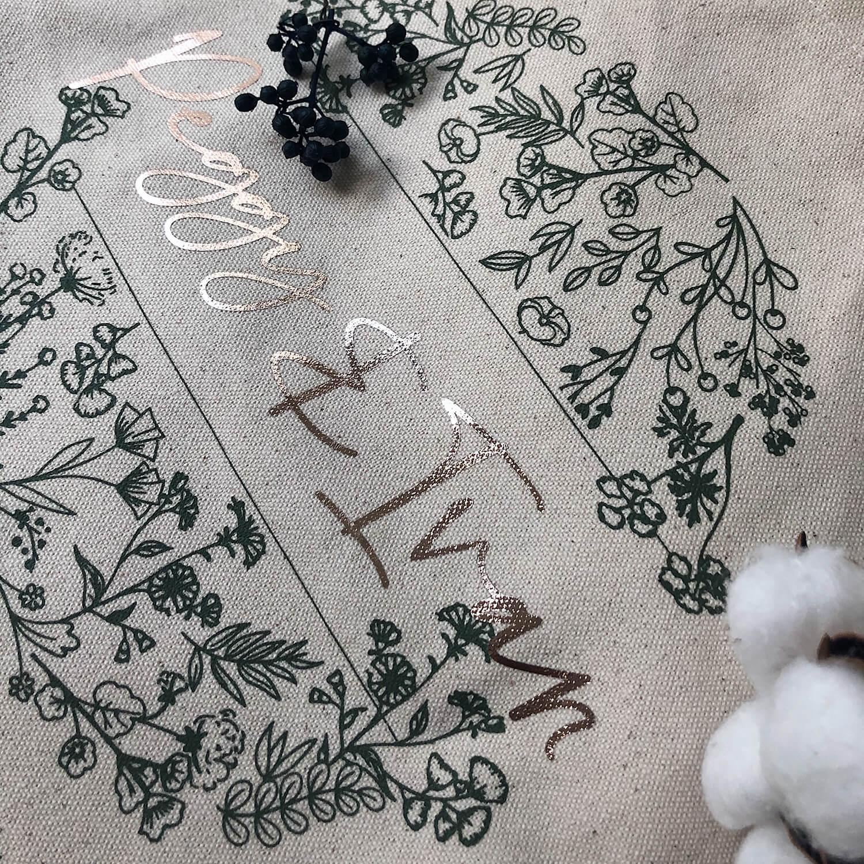 【客製】燙金名字帆布袋-綠色花園
