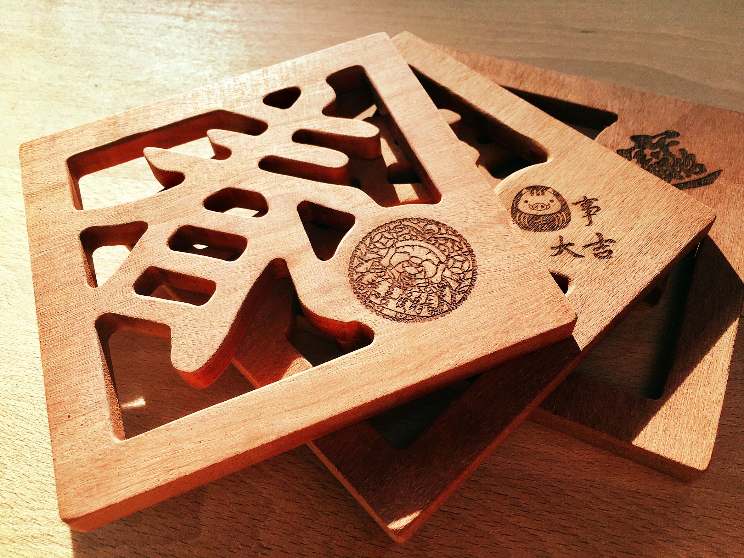 木城工坊 原木木作方型隔熱墊-春款