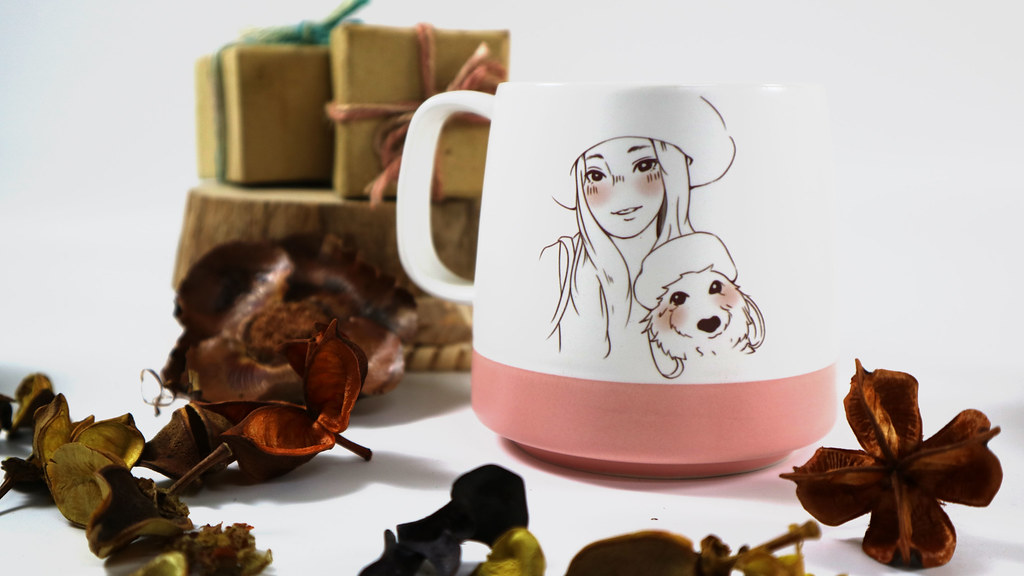 【客製化】陶緣彩瓷 兩角色客製化似顏繪磨砂馬克杯-粉紅