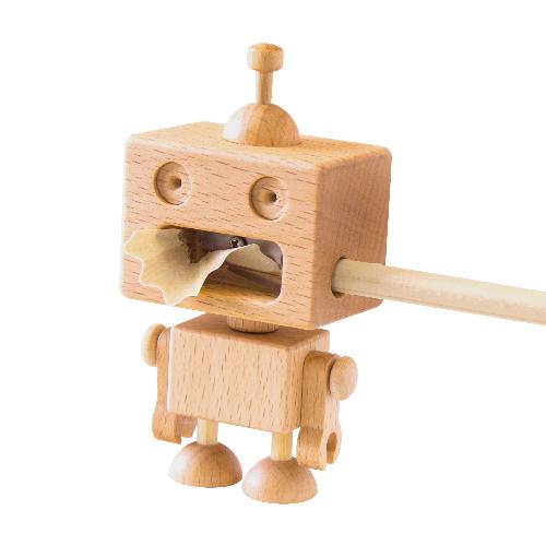 憨厚的機器人會善盡它本份,幫主人將鉛筆削尖,讓你書寫順暢好方便