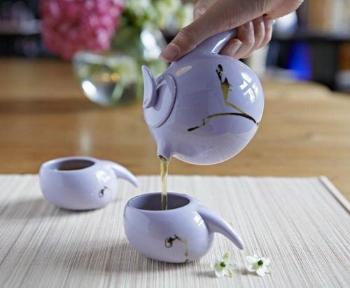 LIULI-LIVING(琉璃工房生活系列) 知音報曉 一壺二杯茶具組(單色-紫)