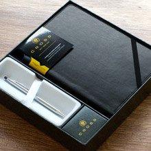 【可雷雕】美國 CROSS 世紀經典系列 亮鉻原子筆+黑色筆記本 禮盒組
