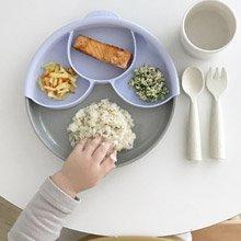 Miniware 天然寶貝兒童學習餐具 聰明分隔餐盤組-芝麻冰淇淋+薄荷綠