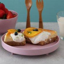 美國 Miniware 天然寶貝兒童學習餐具 麵包盤組(草莓優格)