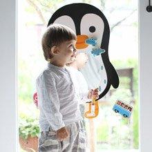 韓國館 NINO兒童彩繪壁貼鏡 QQ酷企鵝