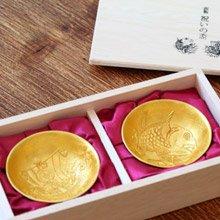 日本 能作 純錫金箔祝賀喜杯組
