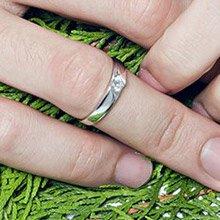 【可刻字】 IR 因你而在 單鑽純銀戒指/男款