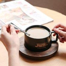 創意設計小物館 創意古著美式咖啡杯(附勺+木盤) 鐵鏽黑