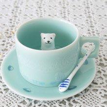三淺陶社<br />北極熊咖啡杯三件套(影青)