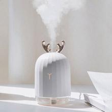 創意設計小物館 超萌小鹿小兔夜燈加濕器 白色麋鹿