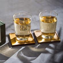 創意設計小物館<br />質感燙金雙囍玻璃對杯