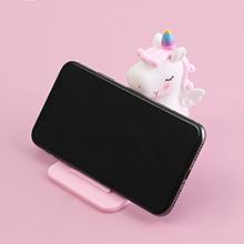 家居生活雜貨舖 粉嫩可愛獨角獸迷你桌面手機支架 粉色