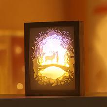 家居生活雜貨鋪 3D光影紙雕相框小夜燈 麋鹿與女孩