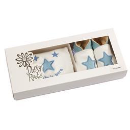 <span class=cutoff>Daisy Roots 彌月禮盒 英國手工鞋S號新生兒0~6M T恤 - 藍色星...</span>