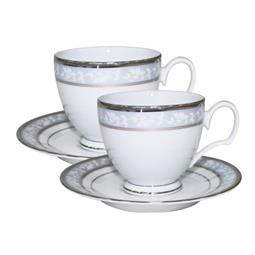 日本 Noritake 花舞春風銀邊咖啡對杯 兩入禮盒組