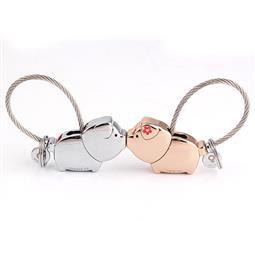 創意設計小物館 情人小豬豬鑰匙圈 銀色+淺金色