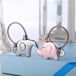 創意設計小物館 情人小象象鑰匙圈 粉金色+銀色