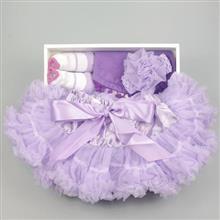 日安朵朵 女嬰童蓬蓬裙禮盒組 - 粉嫩小公主 (裙+圍兜+寶寶襪) 長髮公主