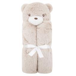 日安朵朵 美國Quiltex超柔軟動物安撫毯禮盒 淺咖啡小熊
