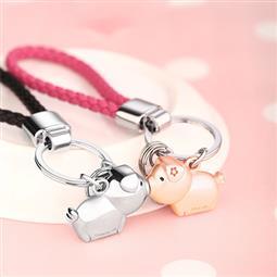 創意設計小物館 親親小豬掛繩鑰匙圈 淺金+銀色