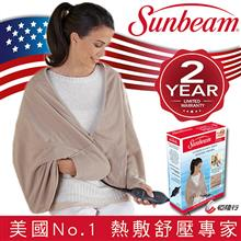 美國 Sunbeam 柔毛披蓋式電熱毯 優雅駝