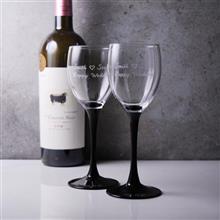 MSA【手工雕刻】法國黑天鵝高腳紅酒紀念對杯