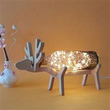 創意設計小物館 麋鹿手工吹製玻璃夜燈 寶石灰